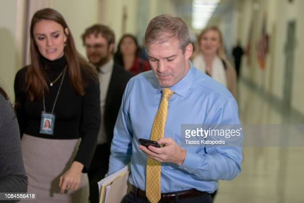S Representative Jim Jordan arrives on Capital Hill on December 19 2018 in Washington DC Jordan was heading into the House Judiciary Committee in a...