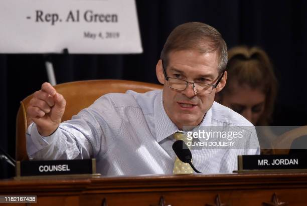 Representative Jim Jordan Republican of Ohio asks questions of witnesses US Ambassador to Ukraine William Taylor and Deputy Assistant Secretary...