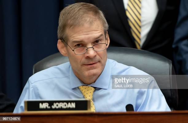 US Representative Jim Jordan Republican of Ohio attends a House Joint committee hearing with witness Deputy Assistant FBI Director Peter Strzok as he...