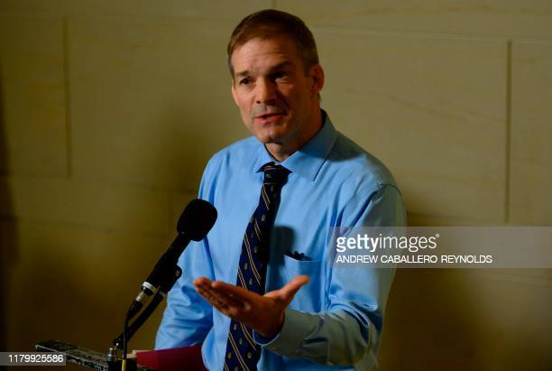 US Representative Jim Jordan ROH speaks with reporters after witnesses failed to arrive for testimony before the House Intelligence Foreign Affairs...