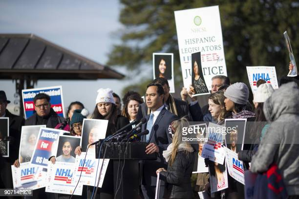 Representative Joaquin Castro a Democrat from Texas center speaks during a rally supporting the Deferred Action for Childhood Arrivals program or the...