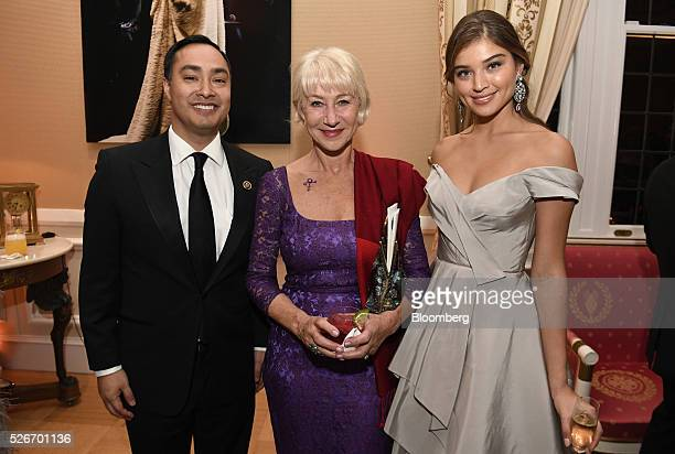 Representative Joaquin Castro a Democrat from Texas from left actress Helen Mirren and model Daniela Lopez attend the Bloomberg Vanity Fair White...