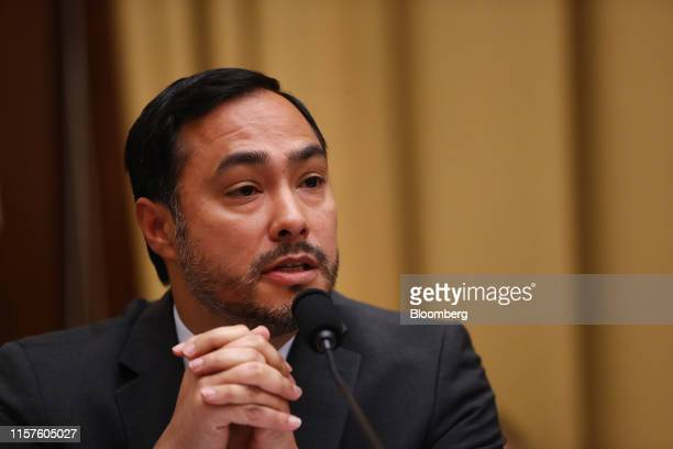 Representative Joaquin Castro a Democrat from Texas questions Robert Mueller former special counsel for the US Department of Justice during a House...