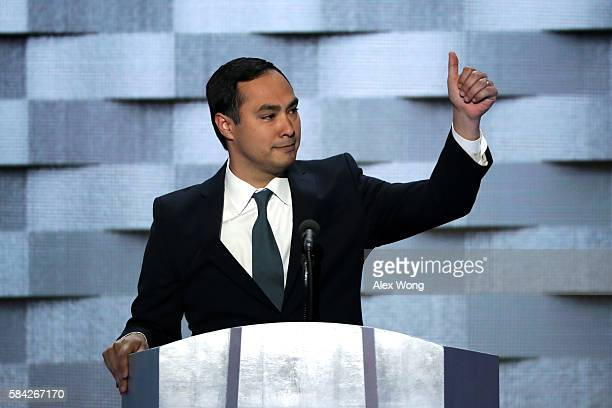S Representative Joaquin Castro gives a thumbs up to the crowd on the fourth day of the Democratic National Convention at the Wells Fargo Center July...