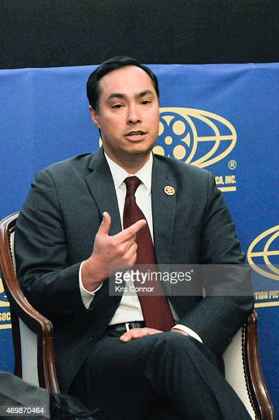 Representative Joaquin Castro speaks during a panel discussion after a screening of 'Underwater Dreams' presented by Viacom and EPIX at the Motion...