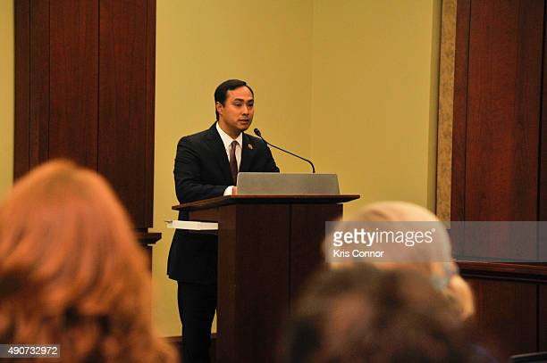 Representative Joaquin Castro speaks during a private screening of 'Food Chains' in the Capitol Visitors Center on September 30 2015 in Washington DC