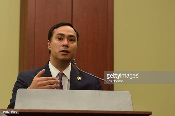 Representative Joaquin Castro speaks during a private screening of Food Chains in the Capitol Visitors Center on September 30 2015 in Washington DC