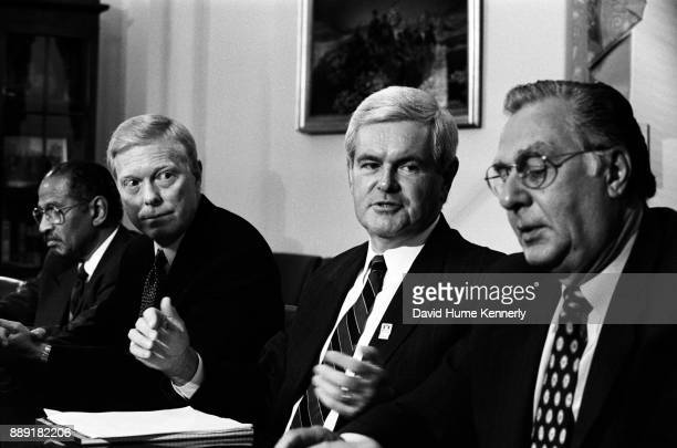 Representative John Conyers House Minority Leader Richard Gephardt House Speaker Newt Gingrich and House Majority Leader Dick Armey meet with...