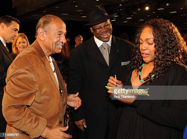 US Representative John Conyers Jr Producer Jimmy Jam and Singer Mary Wilson attend the Recording Academy's GRAMMY Town Hall dialogue held at the Los...