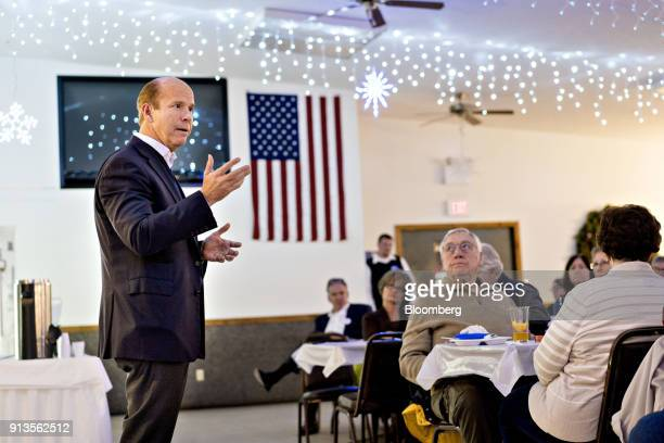 Representative John Delaney a Democrat from Maryland and 2020 presidential candidate speaks during a Clinton County Democrats dinner in Welton Iowa...