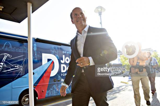Representative John Delaney a Democrat from Maryland and 2020 presidential candidate arrives at the Democratic Wing Ding event in Clear Lake Iowa US...