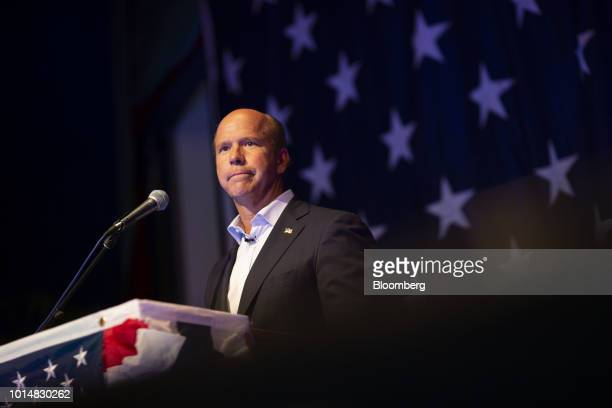 Representative John Delaney a Democrat from Maryland and 2020 presidential candidate speaks during the Democratic Wing Ding event in Clear Lake Iowa...