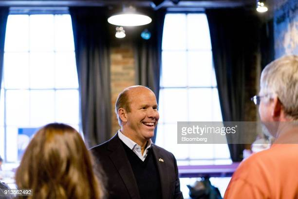 Representative John Delaney a Democrat from Maryland and 2020 presidential candidate speaks to attendees during a fundraiser for Abby Finkenauer a...