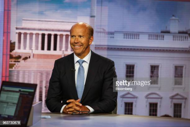 Representative John Delaney a Democrat from Maryland smiles during a Bloomberg Television interview in New York US on Wednesday May 30 2018 Delaney...