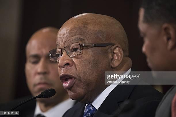 Representative John Lewis testifies against Presidentelect Trumps nomination of Senator Jeff Sessions to be Attorney General during the Senate...
