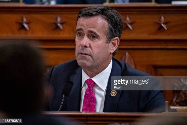 Representative John Ratcliffe a Republican from Texas questions witnesses during a House Intelligence Committee impeachment inquiry hearing on...