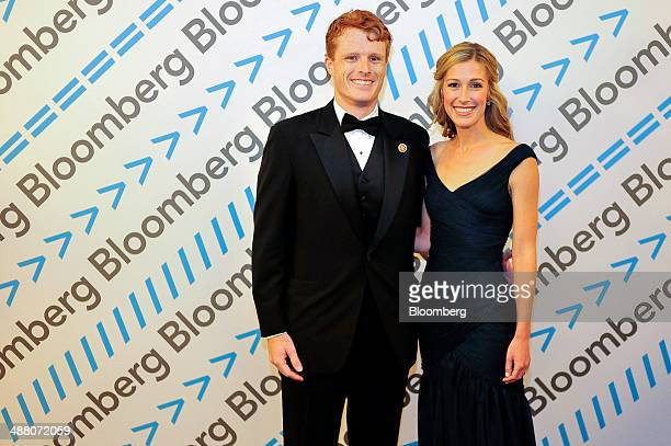 Representative Joseph P Kennedy III a Democrat from Massachusetts and his wife Lauren Birchfield attend the Bloomberg cocktail party before the White...