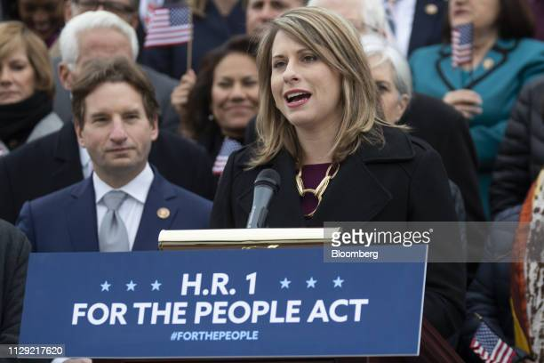Representative Katie Hill a Democrat from California speaks during a news conference in Washington DC US on Friday March 8 2019 House Democrats are...