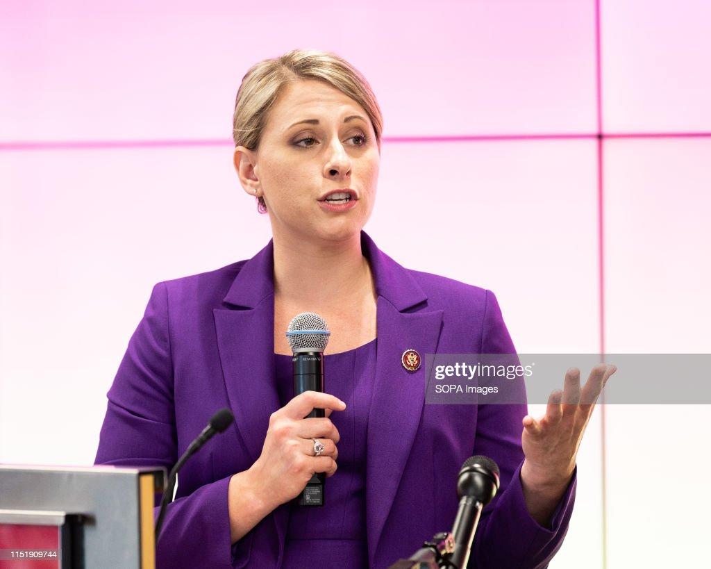 U.S. Representative Katie Hill (D-CA) speaking at the Ignite... : News Photo