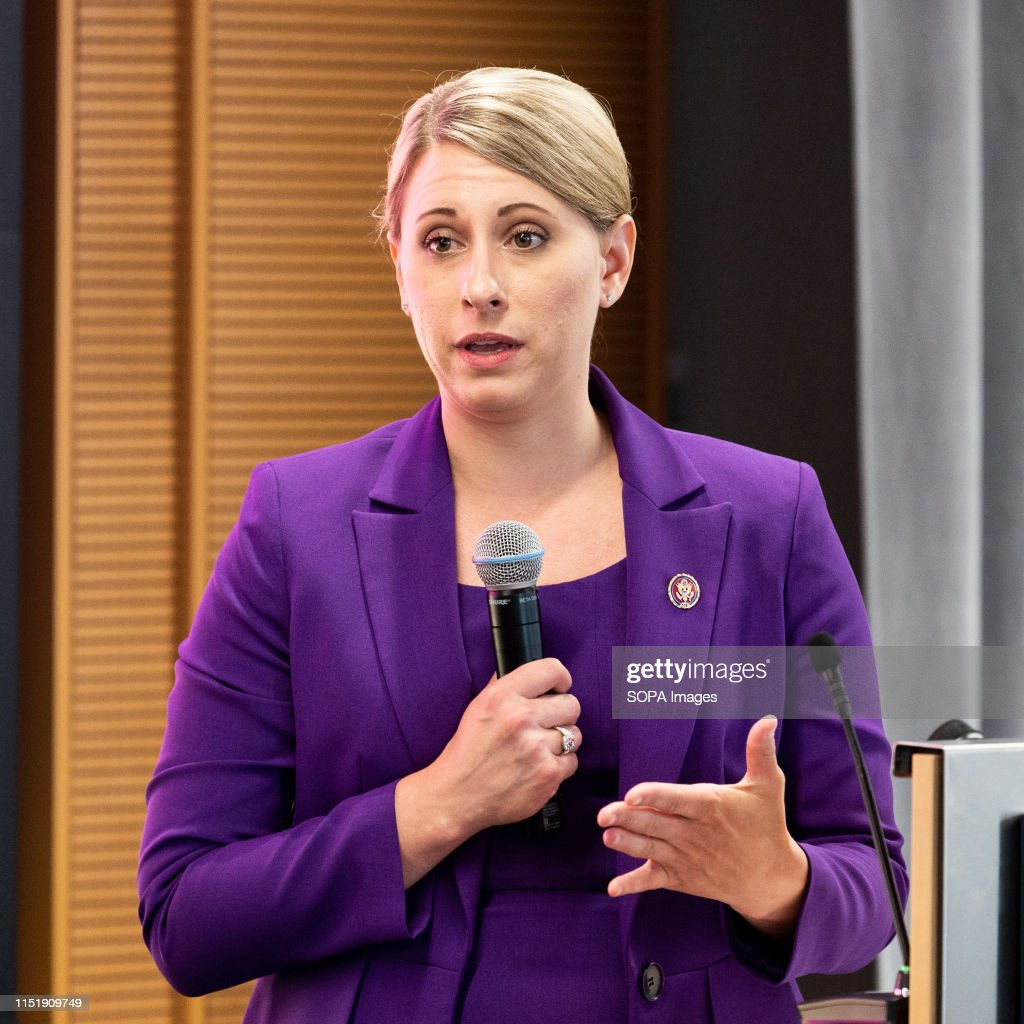U.S. Representative Katie Hill (D-CA) speaking at the Ignite... : News Photo
