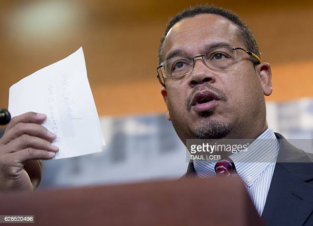 US Representative Keith Ellison Democrat of Minnesota attends a press conference with the Congressional Progressive Caucus about the nominations for...