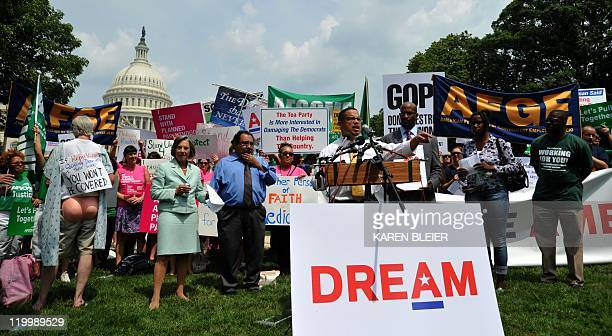 US Representative Keith Ellison speaks at a rally on July 28 2011 during a protest against the debt ceiling debate on Capitol Hill in Washington DC...