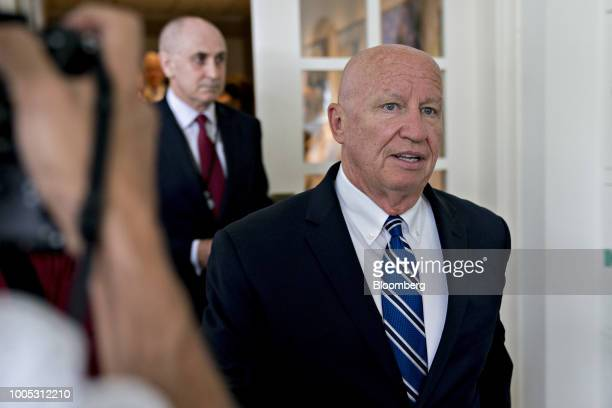 Representative Kevin Brady a Republican from Texas and chairman of the House Ways and Means Committee arrives to a joint statement with US President...