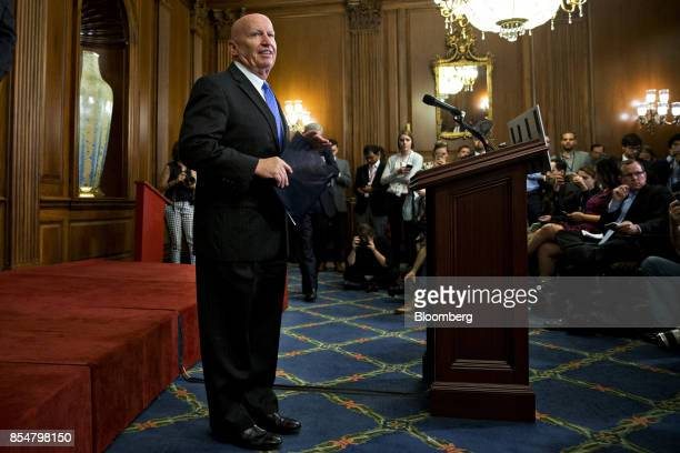 Representative Kevin Brady a Republican from Texas and chairman of the House Ways and Means Committee arrives to a news conference on a unified tax...