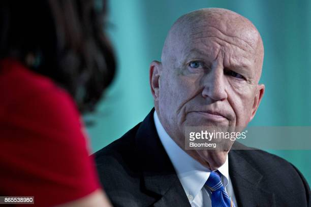 Representative Kevin Brady a Republican from Texas and chairman of the House Ways and Means Committee listens to a question during an interview at...