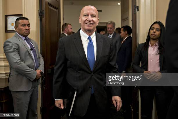 Representative Kevin Brady a Republican from Texas and chairman of the House Ways and Means Committee arrives to a news conference on tax reform in...