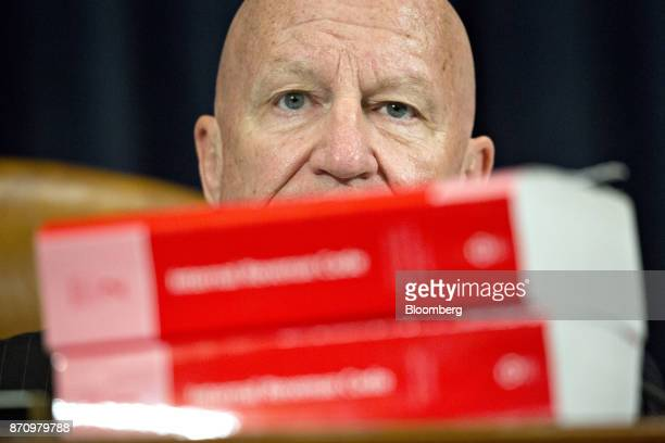 Representative Kevin Brady a Republican from Texas and chairman of the House Ways and Means Committee makes an opening statement behind Internal...