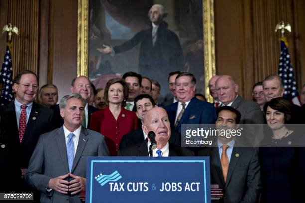 Representative Kevin Brady a Republican from Texas and chairman of the House Ways and Means Committee speaks during a news conference with House...