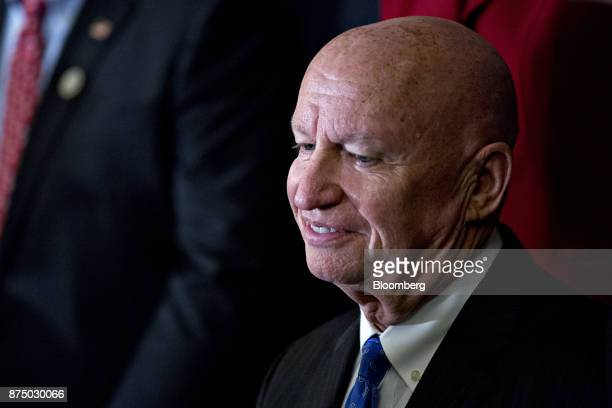 Representative Kevin Brady a Republican from Texas and chairman of the House Ways and Means Committee listens during a news conference with House...
