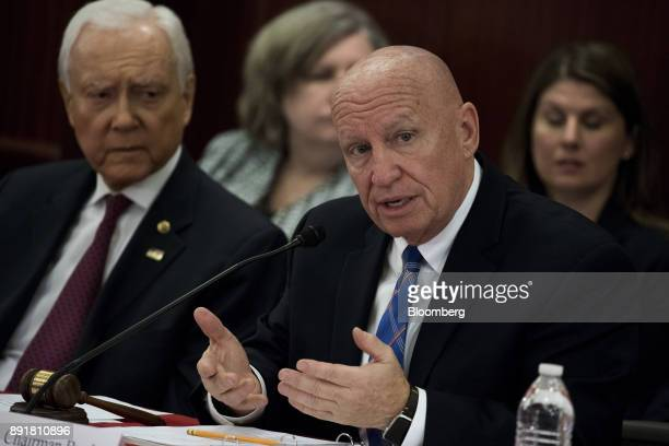 Representative Kevin Brady a Republican from Texas and chairman of the House Ways and Means Committee speaks during a HouseSenate conference meeting...