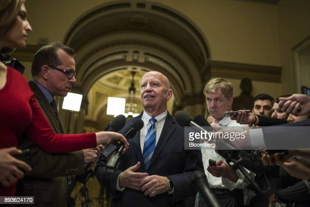 Representative Kevin Brady a Republican from Texas and chairman of the House Ways and Means Committee speaks to members of the media after a meeting...