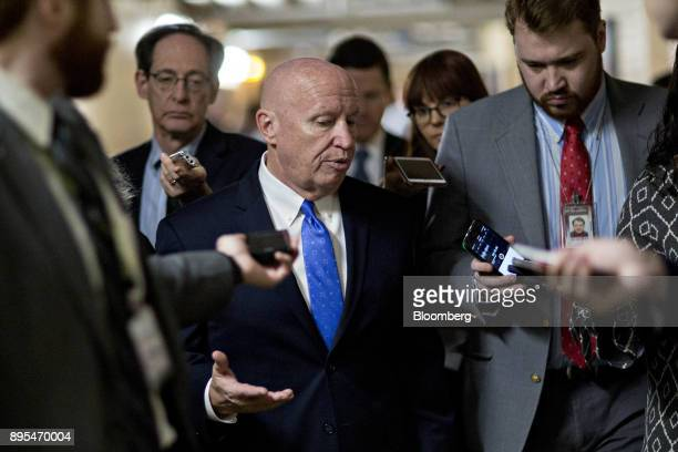 Representative Kevin Brady a Republican from Texas and chairman of the House Ways and Means Committee speaks to members of the media in the basement...