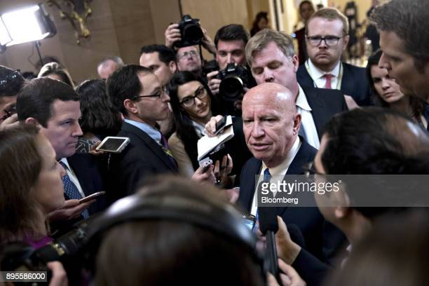 Representative Kevin Brady a Republican from Texas and chairman of the House Ways and Means Committee speaks to members of the media after voting on...
