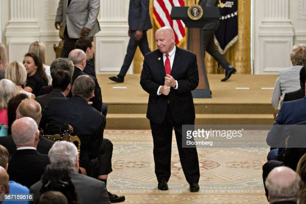 Representative Kevin Brady a Republican from Texas and chairman of the House Ways and Means Committee attends an event to mark the sixthmonth...