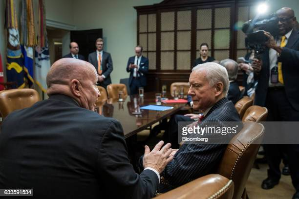 Representative Kevin Brady a Republican from Texas left speaks with Senator Orrin Hatch a Republican from Utah before the start of a meeting with US...