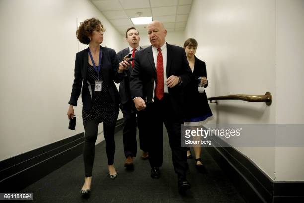 Representative Kevin Brady a Republican from Texas second right speaks with reporters prior to a House Republican conference meeting at the US...