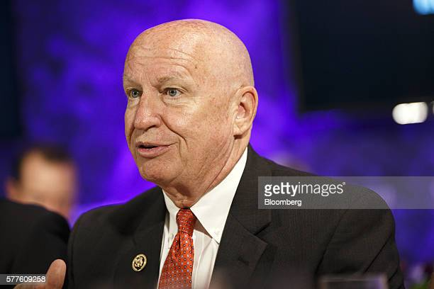 Representative Kevin Brady a Republican from Texas smiles during a Bloomberg Politics panel about the future of healthcare on the sidelines of the...
