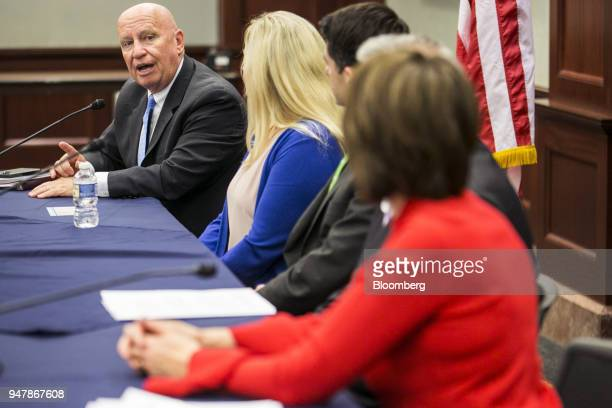 Representative Kevin Brady a Republican from Texas speaks as during a round table meeting with American taxpayers on Capitol Hill Washington DC US on...
