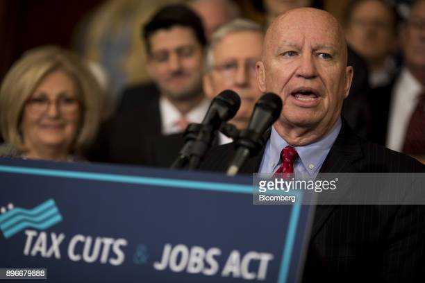 Representative Kevin Brady a Republican from Texas speaks during a Tax Cuts and Jobs Act enrollment ceremony at the US Capitol in Washington DC US on...