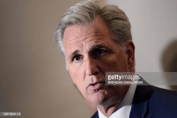 US Representative Kevin McCarthy incoming minority leader speaks to reporters after Republican members of the House of Representatives met to elect...