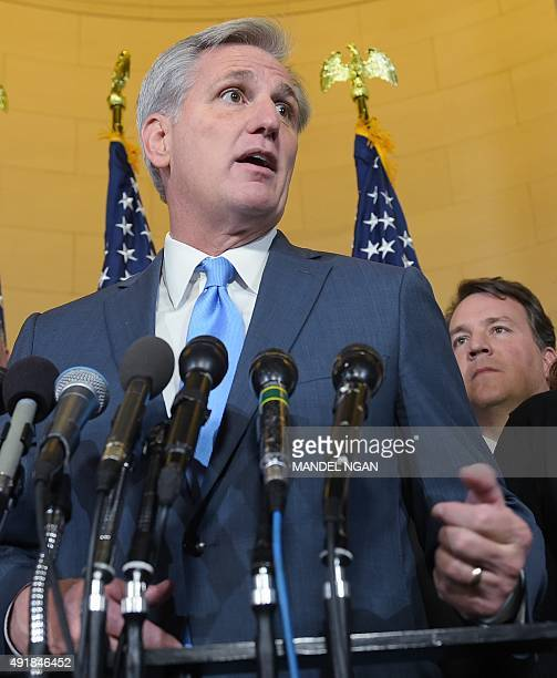 Representative Kevin McCarthy speaks following the Republican nomination election for House speaker in the Longworth House Office Building on October...