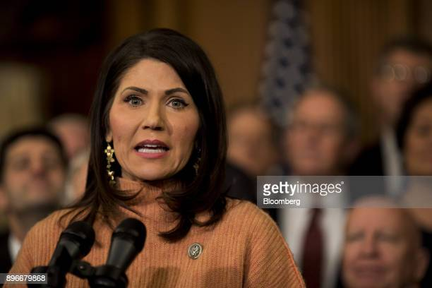 Representative Kristi Noem a Republican from South Dakota speaks during a Tax Cuts and Jobs Act enrollment ceremony at the US Capitol in Washington...