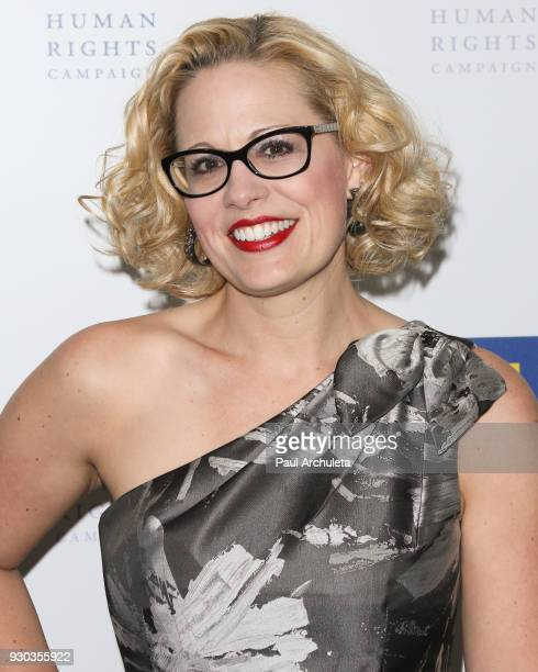 S Representative Kyrsten Sinema attends the Human Rights Campaign's 2018 Los Angeles Gala Dinner at JW Marriott Los Angeles at LA LIVE on March 10...