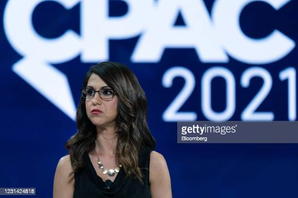 Representative Lauren Boebert, a Republican from Colorado, listens during a panel discussion at the Conservative Political Action Conference in...