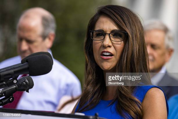 Representative Lauren Boebert, a Republican from Colorado, speaks during a news conference outside the U.S. Capitol in Washington, D.C., U.S., on...