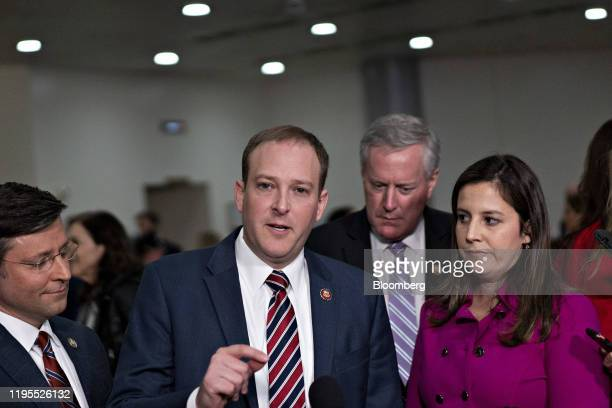 Representative Lee Zeldin, a Republican from New York, speaks to members of the media as Representative Elise Stefanik, a Republican from New York,...